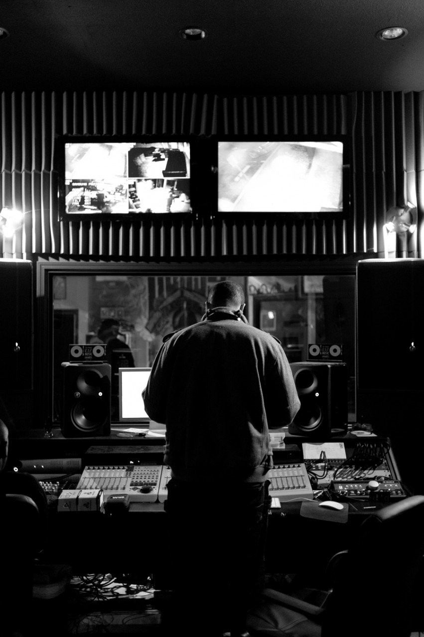 Curtis Young (son of Dr. Dre) and Eric Wright/Lil Eazy E (son of Eazy E)  work on a new album in Snoop Dogg's studio in Orange County California.   Kenneth M. Ruggiano is a photographer based in Tulsa Oklahoma.