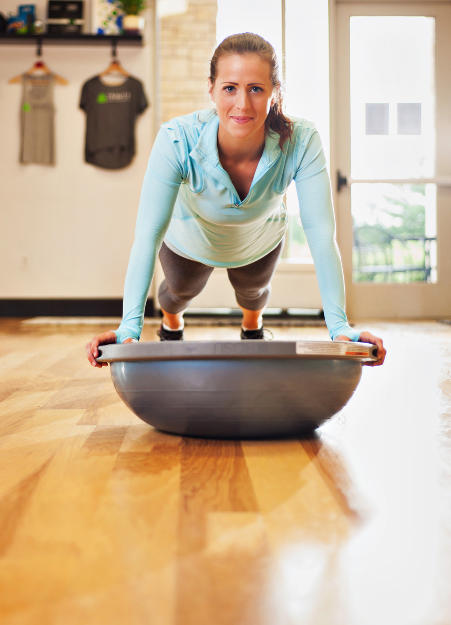 Women working out using a bosu ball.  Fit women working out.  Kenneth M. Ruggiano is a portrait photographer living in Tulsa, Oklahoma specializing in Sports and Athletic Photography.